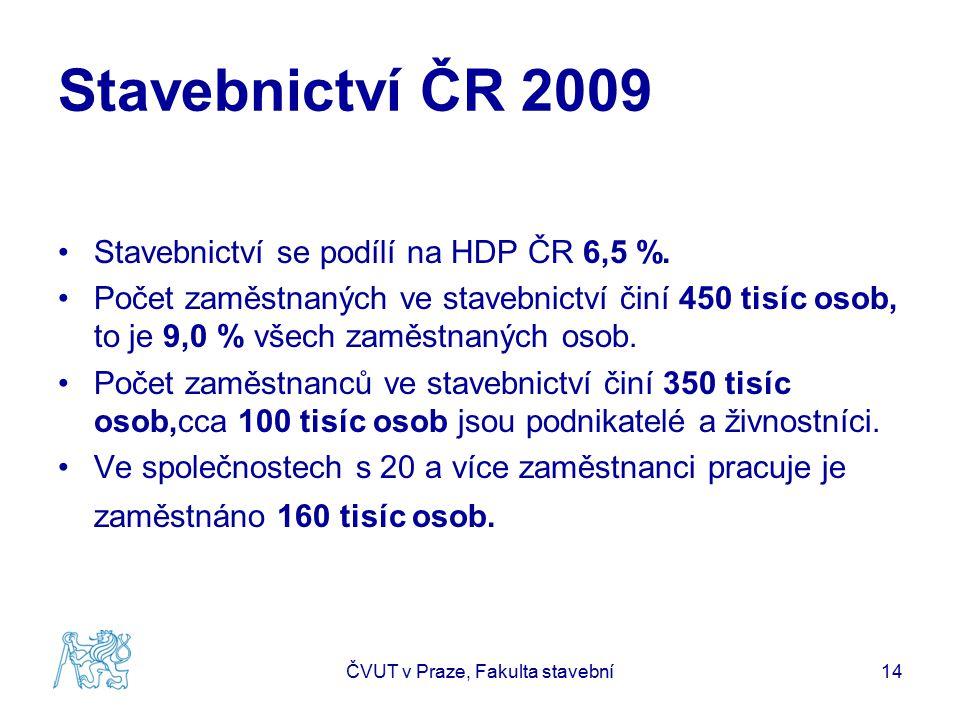 Stavebnictví ČR 2009 Stavebnictví se podílí na HDP ČR 6,5 %. Počet zaměstnaných ve stavebnictví činí 450 tisíc osob, to je 9,0 % všech zaměstnaných os