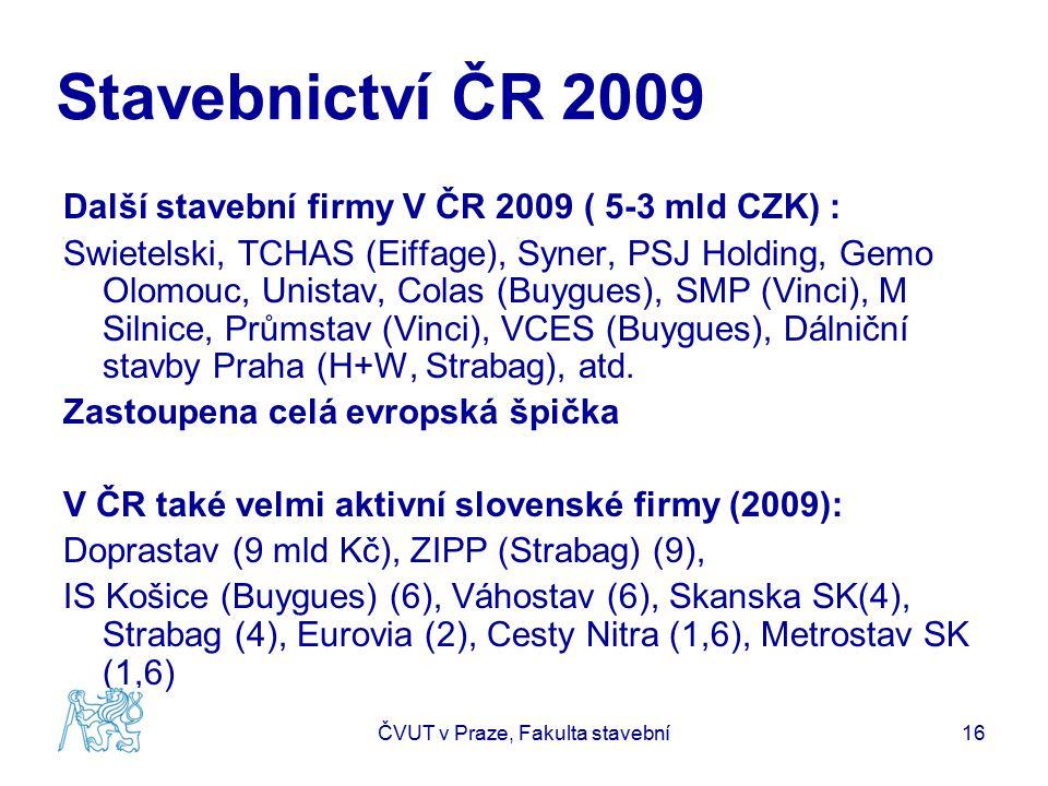 Stavebnictví ČR 2009 Další stavební firmy V ČR 2009 ( 5-3 mld CZK) : Swietelski, TCHAS (Eiffage), Syner, PSJ Holding, Gemo Olomouc, Unistav, Colas (Bu