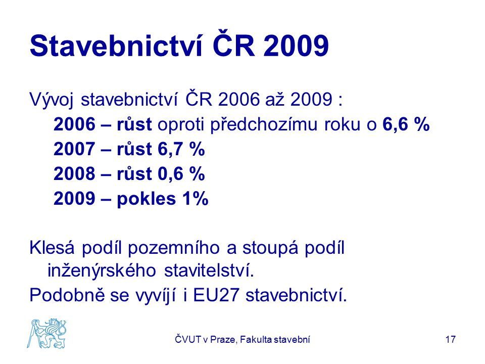 Stavebnictví ČR 2009 Vývoj stavebnictví ČR 2006 až 2009 : 2006 – růst oproti předchozímu roku o 6,6 % 2007 – růst 6,7 % 2008 – růst 0,6 % 2009 – pokles 1% Klesá podíl pozemního a stoupá podíl inženýrského stavitelství.
