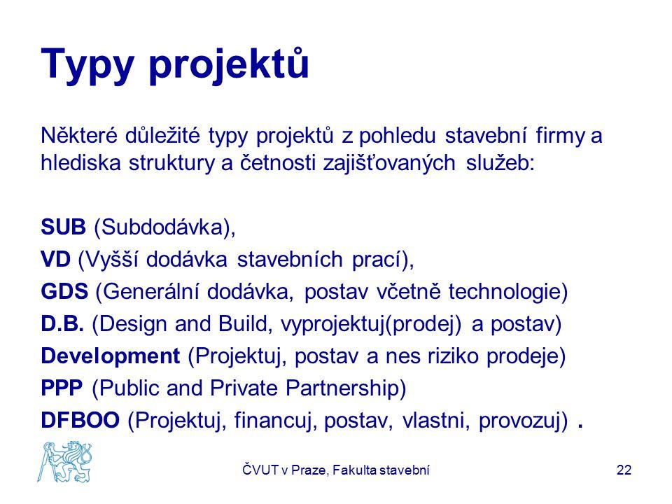 Typy projektů Některé důležité typy projektů z pohledu stavební firmy a hlediska struktury a četnosti zajišťovaných služeb: SUB (Subdodávka), VD (Vyšší dodávka stavebních prací), GDS (Generální dodávka, postav včetně technologie) D.B.