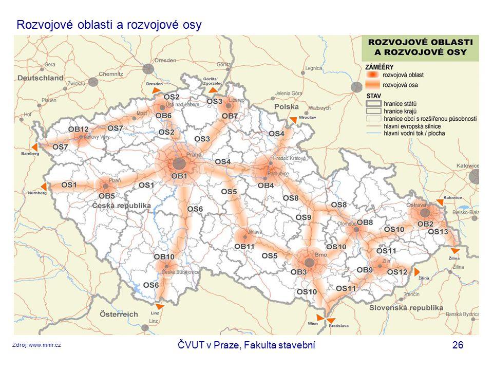 ČVUT v Praze, Fakulta stavební26 Rozvojové oblasti a rozvojové osy Zdroj: www.mmr.cz