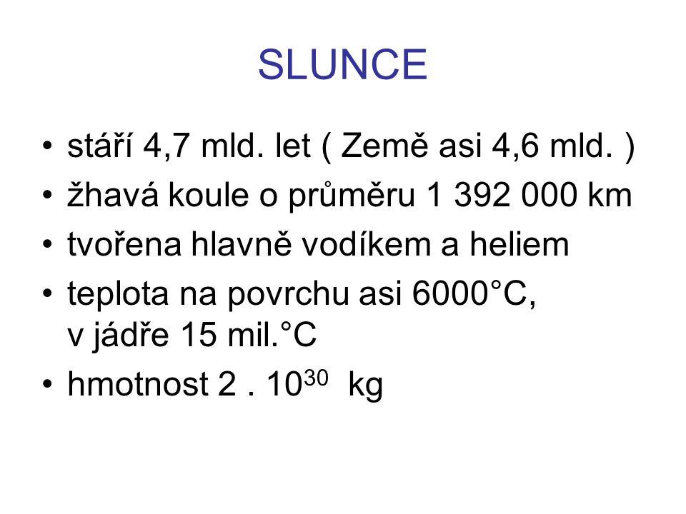 SLUNCE stáří 4,7 mld.let ( Země asi 4,6 mld.
