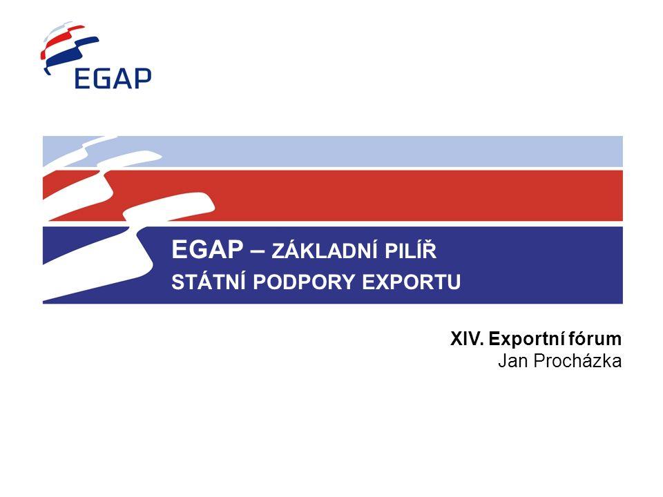 EGAP – ZÁKLADNÍ PILÍŘ STÁTNÍ PODPORY EXPORTU XIV. Exportní fórum Jan Procházka