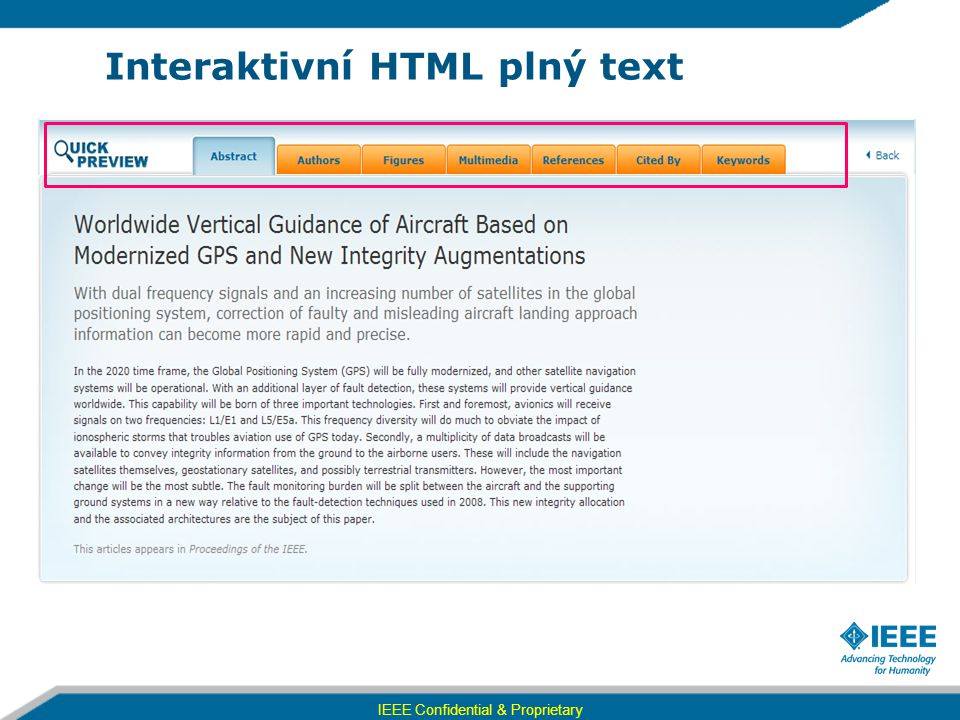 Interaktivní HTML plný text IEEE Confidential & Proprietary