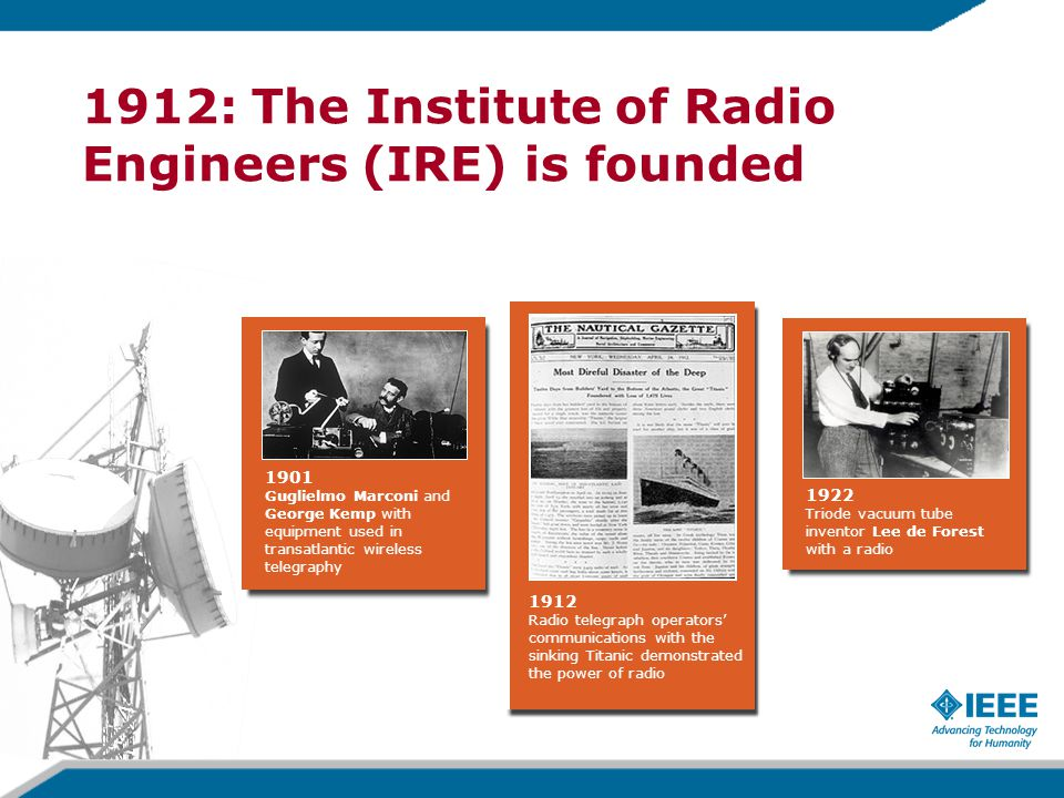 1922 Triode vacuum tube inventor Lee de Forest with a radio 1912 Radio telegraph operators' communications with the sinking Titanic demonstrated the power of radio 1901 Guglielmo Marconi and George Kemp with equipment used in transatlantic wireless telegraphy 1912: The Institute of Radio Engineers (IRE) is founded
