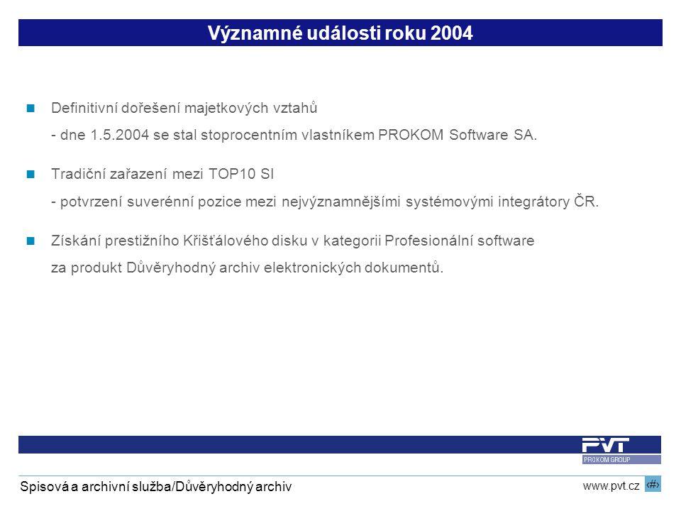 3 www.pvt.cz Spisová a archivní služba/Důvěryhodný archiv Významné události roku 2004 Definitivní dořešení majetkových vztahů - dne 1.5.2004 se stal stoprocentním vlastníkem PROKOM Software SA.