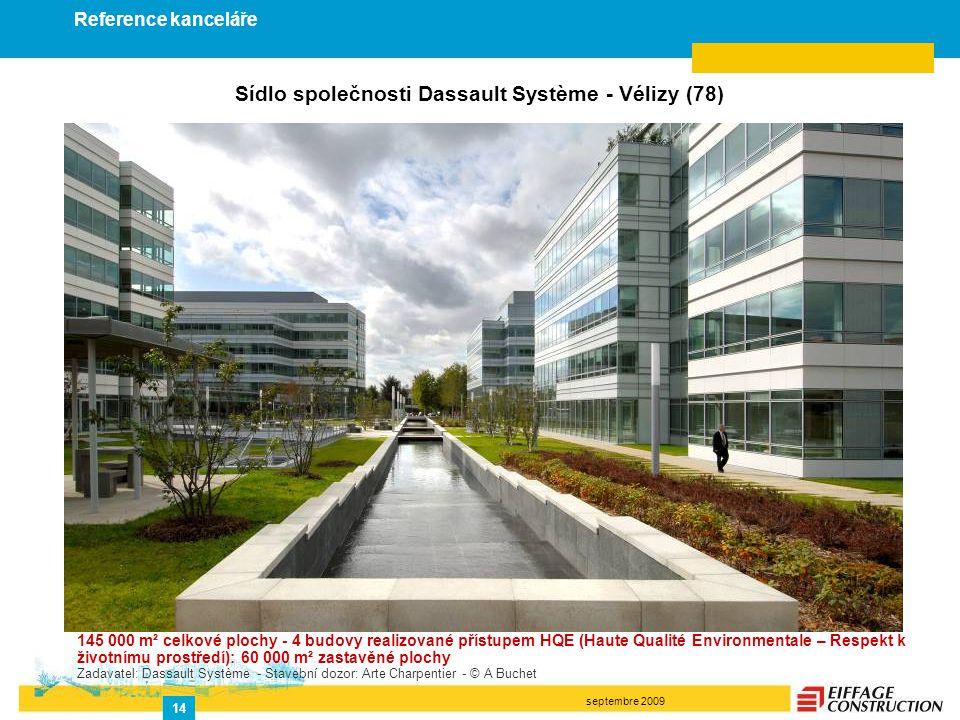 septembre 2009 14 Sídlo společnosti Dassault Système - Vélizy (78) 145 000 m² celkové plochy - 4 budovy realizované přístupem HQE (Haute Qualité Envir