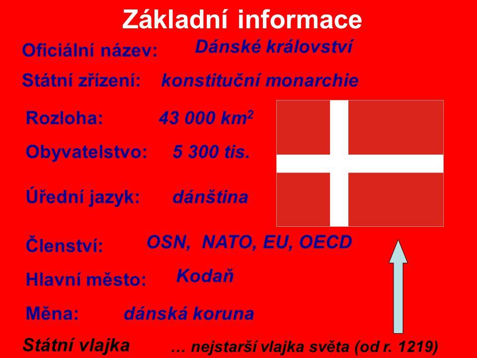 Základní informace Oficiální název: Dánské království Rozloha: 43 000 km 2 Obyvatelstvo:5 300 tis. Státní zřízení:konstituční monarchie Úřední jazyk:d