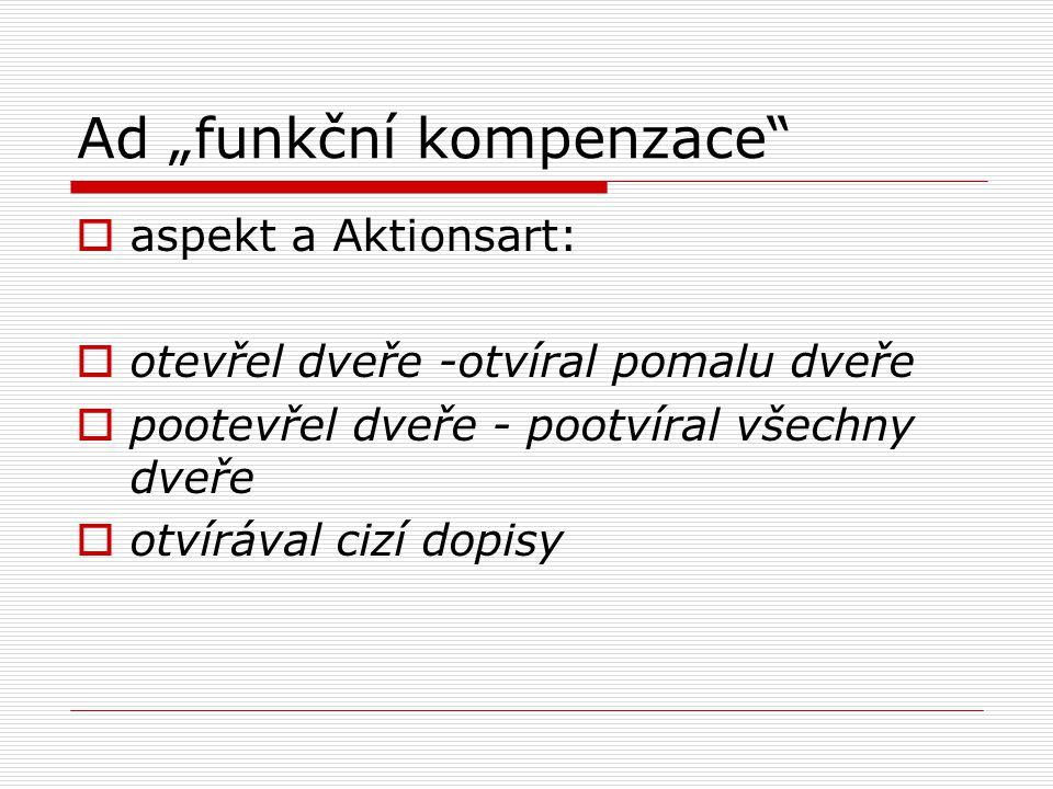 """Ad """"funkční kompenzace  aspekt a Aktionsart:  otevřel dveře -otvíral pomalu dveře  pootevřel dveře - pootvíral všechny dveře  otvírával cizí dopisy"""