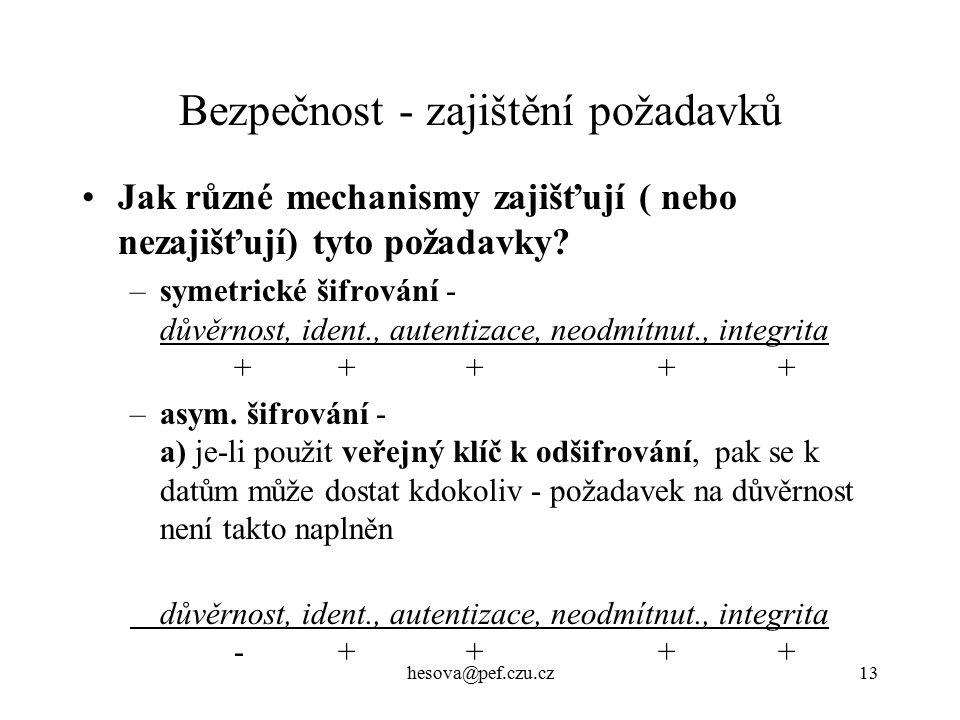 hesova@pef.czu.cz13 Bezpečnost - zajištění požadavků Jak různé mechanismy zajišťují ( nebo nezajišťují) tyto požadavky.