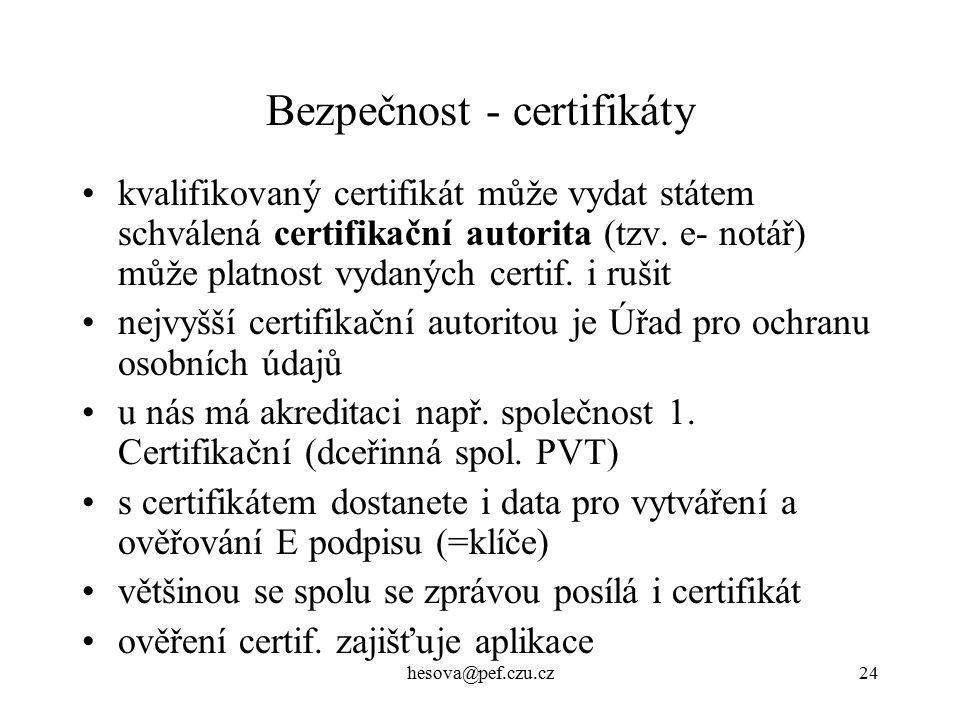 hesova@pef.czu.cz24 Bezpečnost - certifikáty kvalifikovaný certifikát může vydat státem schválená certifikační autorita (tzv.