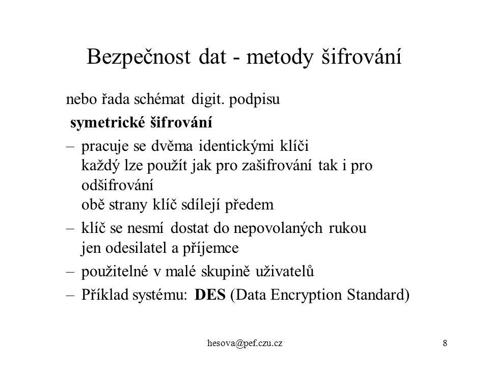 hesova@pef.czu.cz9 Bezpečnost dat - metody šifrování kombinace sym.