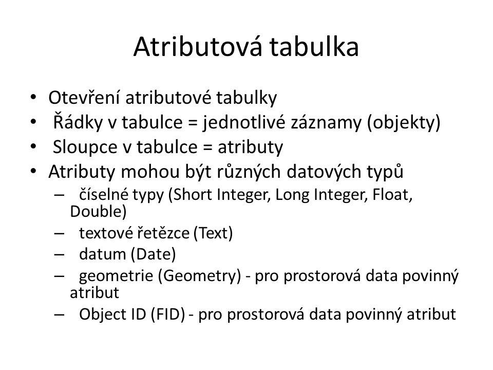 Atributová tabulka Otevření atributové tabulky Řádky v tabulce = jednotlivé záznamy (objekty) Sloupce v tabulce = atributy Atributy mohou být různých datových typů – číselné typy (Short Integer, Long Integer, Float, Double) – textové řetězce (Text) – datum (Date) – geometrie (Geometry) - pro prostorová data povinný atribut – Object ID (FID) - pro prostorová data povinný atribut