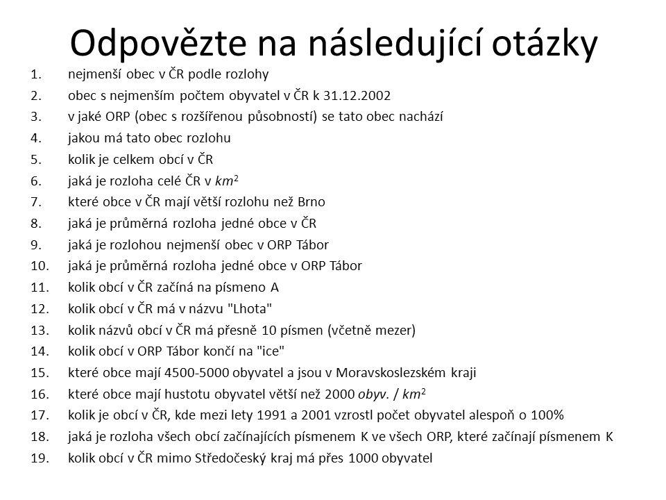 Odpovězte na následující otázky 1.nejmenší obec v ČR podle rozlohy 2.obec s nejmenším počtem obyvatel v ČR k 31.12.2002 3.v jaké ORP (obec s rozšířenou působností) se tato obec nachází 4.jakou má tato obec rozlohu 5.kolik je celkem obcí v ČR 6.jaká je rozloha celé ČR v km 2 7.které obce v ČR mají větší rozlohu než Brno 8.jaká je průměrná rozloha jedné obce v ČR 9.jaká je rozlohou nejmenší obec v ORP Tábor 10.jaká je průměrná rozloha jedné obce v ORP Tábor 11.kolik obcí v ČR začíná na písmeno A 12.kolik obcí v ČR má v názvu Lhota 13.kolik názvů obcí v ČR má přesně 10 písmen (včetně mezer) 14.kolik obcí v ORP Tábor končí na ice 15.které obce mají 4500-5000 obyvatel a jsou v Moravskoslezském kraji 16.které obce mají hustotu obyvatel větší než 2000 obyv.