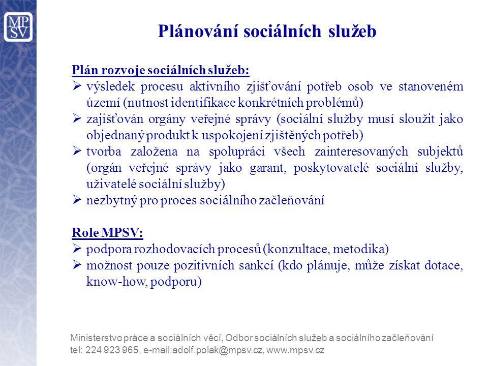 Plánování sociálních služeb Plán rozvoje sociálních služeb:  výsledek procesu aktivního zjišťování potřeb osob ve stanoveném území (nutnost identifikace konkrétních problémů)  zajišťován orgány veřejné správy (sociální služby musí sloužit jako objednaný produkt k uspokojení zjištěných potřeb)  tvorba založena na spolupráci všech zainteresovaných subjektů (orgán veřejné správy jako garant, poskytovatelé sociální služby, uživatelé sociální služby)  nezbytný pro proces sociálního začleňování Role MPSV:  podpora rozhodovacích procesů (konzultace, metodika)  možnost pouze pozitivních sankcí (kdo plánuje, může získat dotace, know-how, podporu) tel: 224 923 965, e-mail:adolf.polak@mpsv.cz, www.mpsv.cz Ministerstvo práce a sociálních věcí, Odbor sociálních služeb a sociálního začleňování