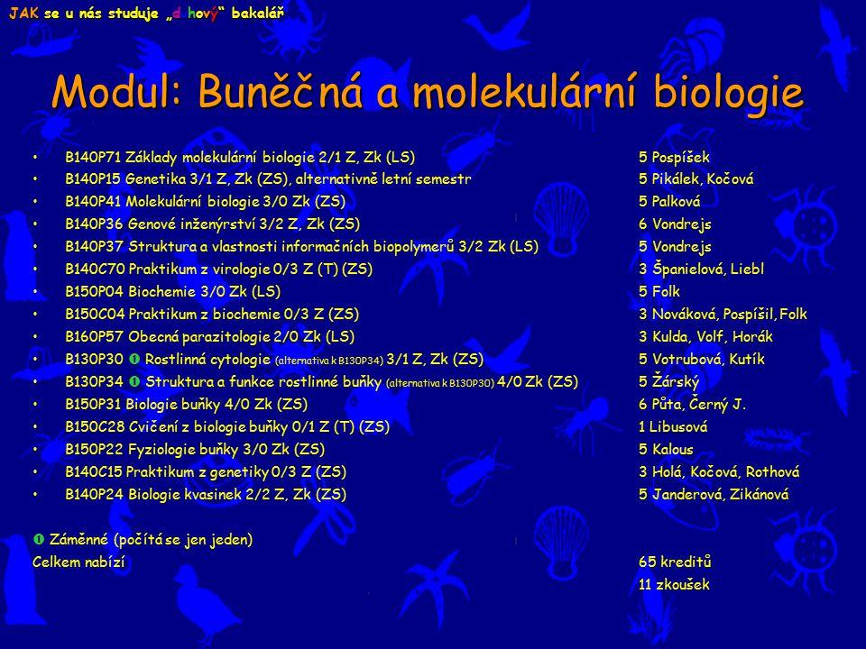 Modul: Buněčná a molekulární biologie B140P71 Základy molekulární biologie 2/1 Z, Zk (LS) 5 Pospíšek B140P15 Genetika 3/1 Z, Zk (ZS), alternativně letní semestr 5 Pikálek, Kočová B140P41 Molekulární biologie 3/0 Zk (ZS) 5 Palková B140P36 Genové inženýrství 3/2 Z, Zk (ZS) 6 Vondrejs B140P37 Struktura a vlastnosti informačních biopolymerů 3/2 Zk (LS) 5 Vondrejs B140C70 Praktikum z virologie 0/3 Z (T) (ZS) 3 Španielová, Liebl B150P04 Biochemie 3/0 Zk (LS) 5 Folk B150C04 Praktikum z biochemie 0/3 Z (ZS) 3 Nováková, Pospíšil, Folk B160P57 Obecná parazitologie 2/0 Zk (LS) 3 Kulda, Volf, Horák B130P30  Rostlinná cytologie (alternativa k B130P34) 3/1 Z, Zk (ZS) 5 Votrubová, Kutík B130P34  Struktura a funkce rostlinné buňky (alternativa k B130P30) 4/0 Zk (ZS) 5 Žárský B150P31 Biologie buňky 4/0 Zk (ZS) 6 Půta, Černý J.