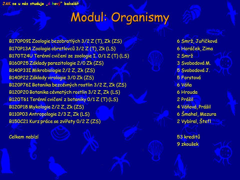 B170P09I Zoologie bezobratlých 3/2 Z (T), Zk (ZS) 6 Smrž, Juřičková B170P13A Zoologie obratlovců 3/2 Z (T), Zk (LS) 6 Horáček, Zima B170T24U Terénní cvičení ze zoologie I.
