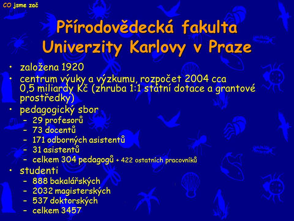 Přírodovědecká fakulta Univerzity Karlovy v Praze založena 1920 centrum výuky a výzkumu, rozpočet 2004 cca 0,5 miliardy Kč (zhruba 1:1 státní dotace a grantové prostředky) pedagogický sbor –29 profesorů –73 docentů –171 odborných asistentů –31 asistentů –celkem 304 pedagogů + 422 ostatních pracovníků studenti –888 bakalářských –2032 magisterských –537 doktorských –celkem 3457 CO jsme zač
