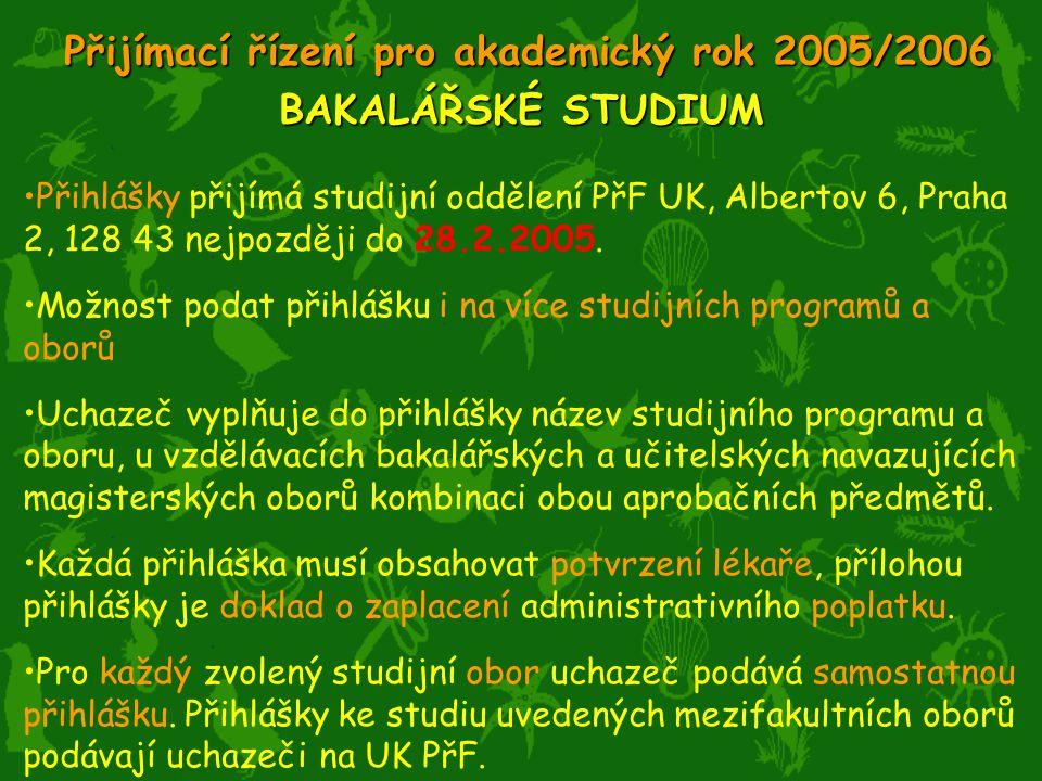 Přihlášky přijímá studijní oddělení PřF UK, Albertov 6, Praha 2, 128 43 nejpozději do 28.2.2005.