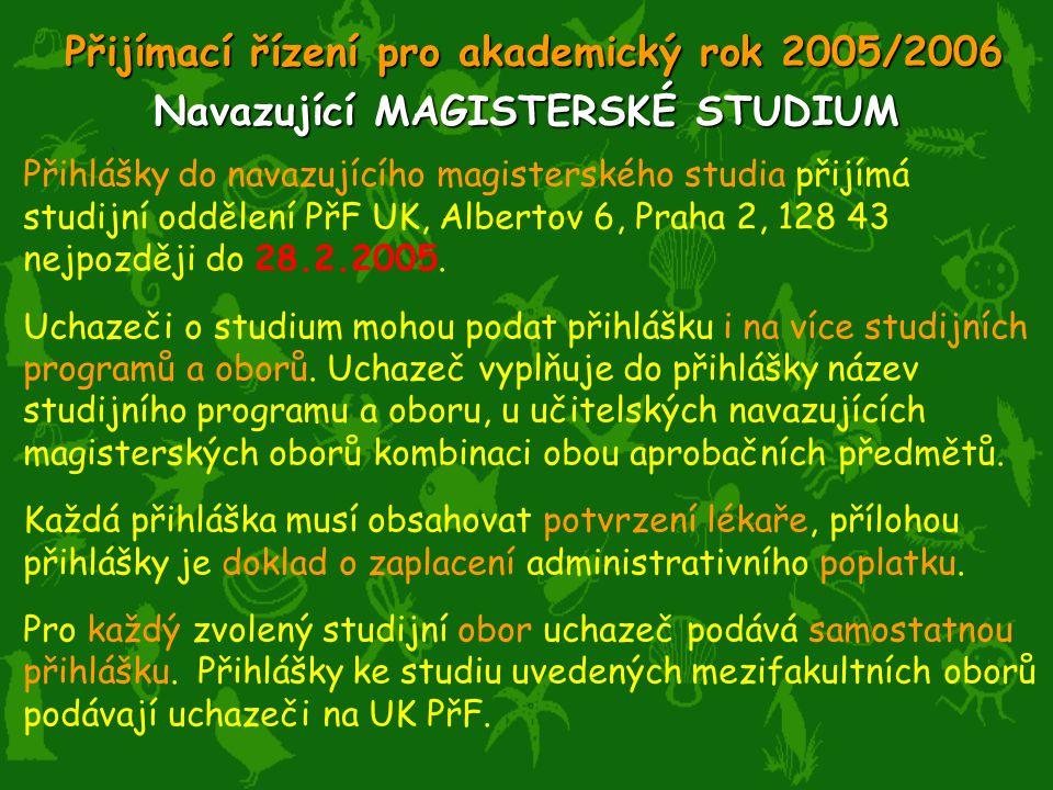 Přihlášky do navazujícího magisterského studia přijímá studijní oddělení PřF UK, Albertov 6, Praha 2, 128 43 nejpozději do 28.2.2005.
