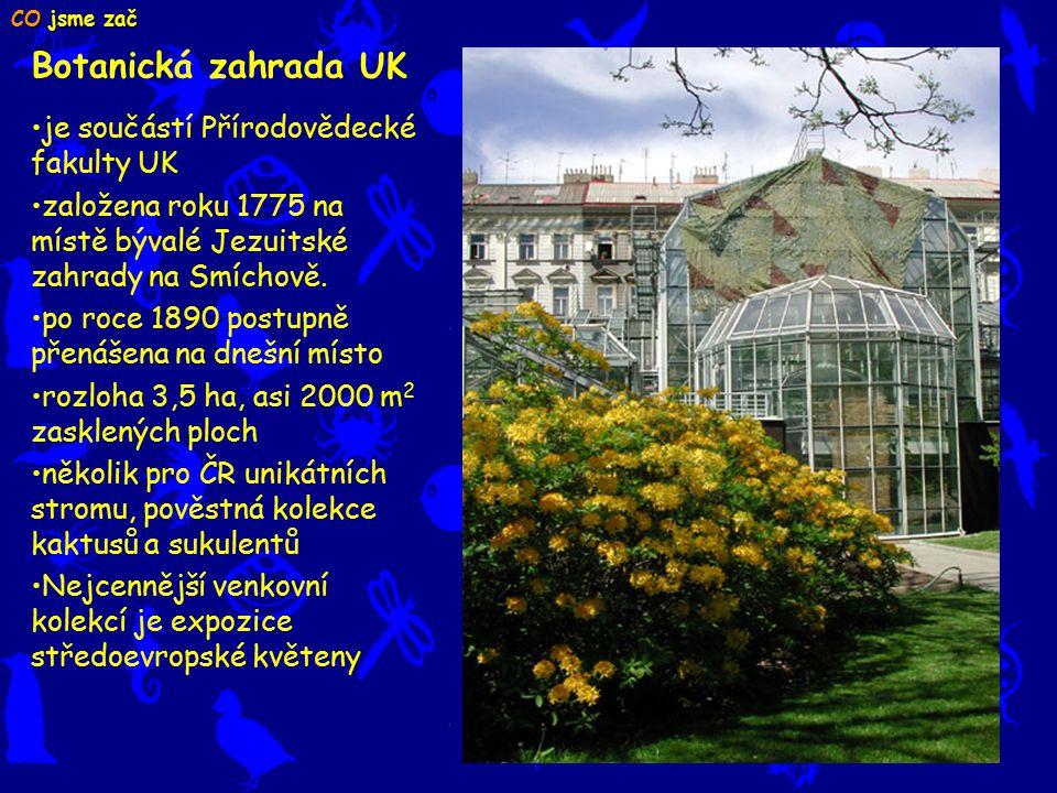 Botanická zahrada UK CO jsme zač je součástí Přírodovědecké fakulty UK založena roku 1775 na místě bývalé Jezuitské zahrady na Smíchově.