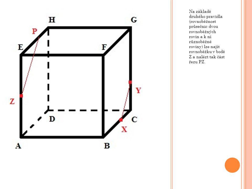 Na základě druhého pravidla (rovnoběžnost průsečnic dvou rovnoběžných rovin a k ní různoběžné roviny) lze najít rovnoběžku v bodě Z a nalézt tak část