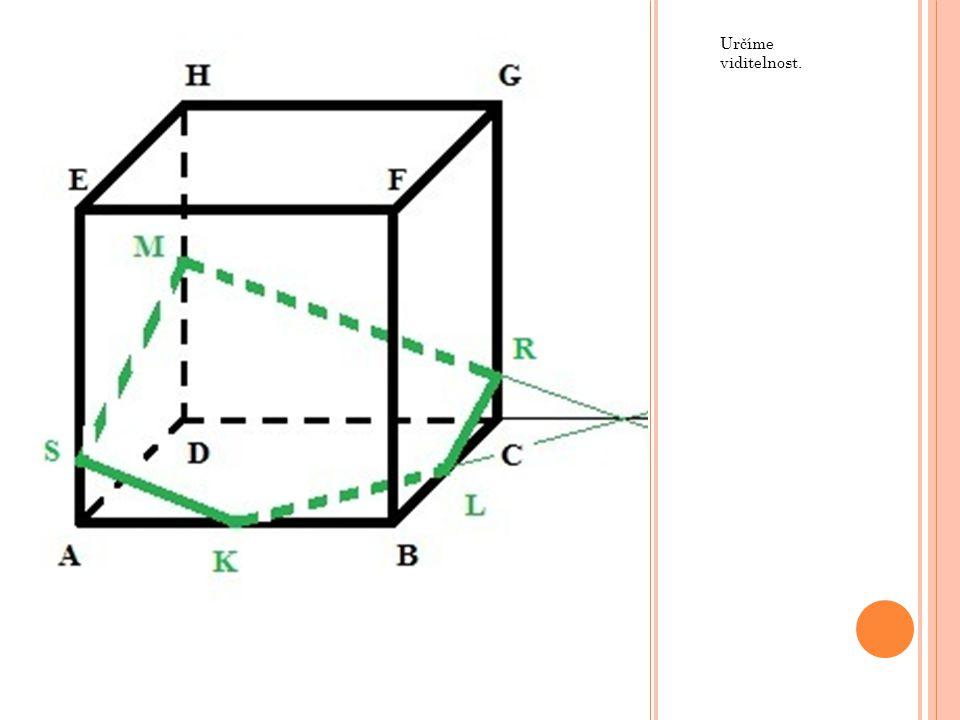 Poté lze sestrojit přímku MT, která je rovnoběžná s přímkou LR a získáme tak další část řezu.