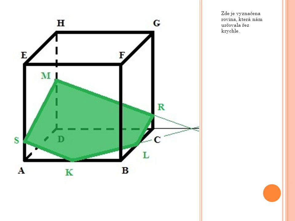 V krychli ABCDEFGH mějme rovinu XYZ, kde bod X leží na hraně BC a platí  BX  :  CX  = 2 : 1, bod Y leží na hraně CG a platí  CY  :  GY  = 1 : 2 a bod Z leží ve středu hrany AE.