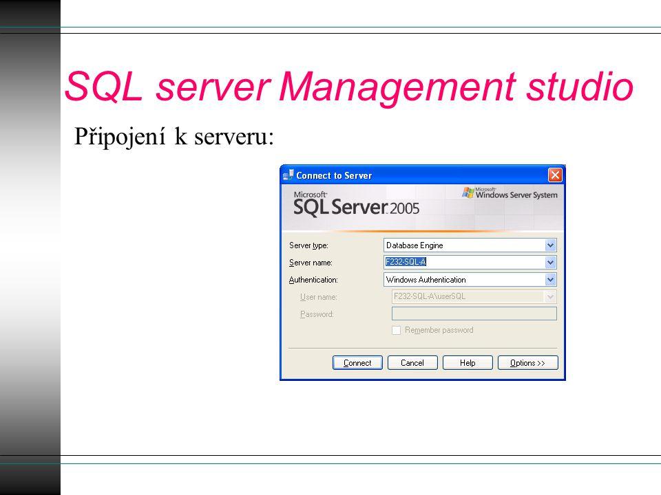 Práce s uzlem Databases Systémové databáze interně používané SQL serverem.