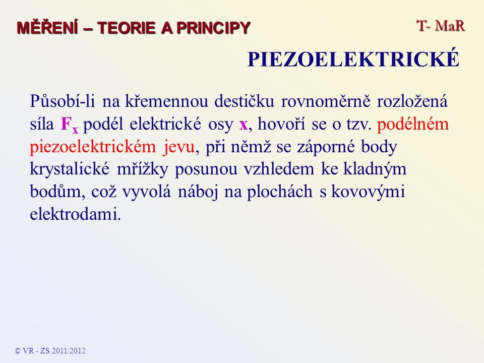 T- MaR MĚŘENÍ – TEORIE A PRINCIPY PIEZOELEKTRICKÉ Působí-li na křemennou destičku rovnoměrně rozložená síla F x podél elektrické osy x, hovoří se o tz