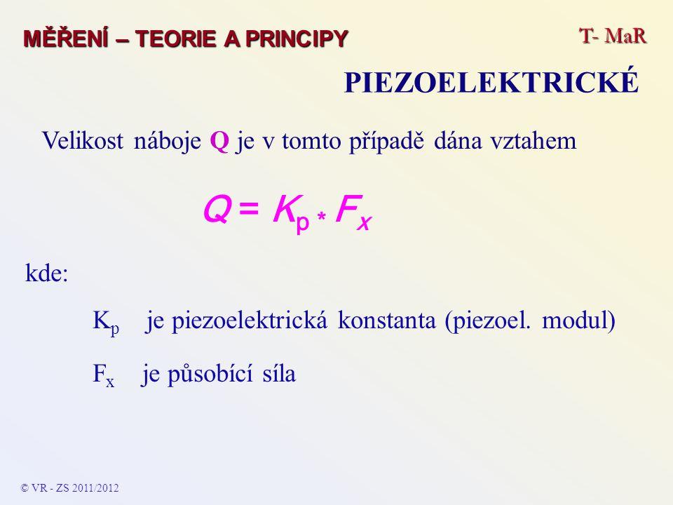 T- MaR MĚŘENÍ – TEORIE A PRINCIPY PIEZOELEKTRICKÉ Velikost náboje Q je v tomto případě dána vztahem Q = K p * F x kde: K p je piezoelektrická konstant
