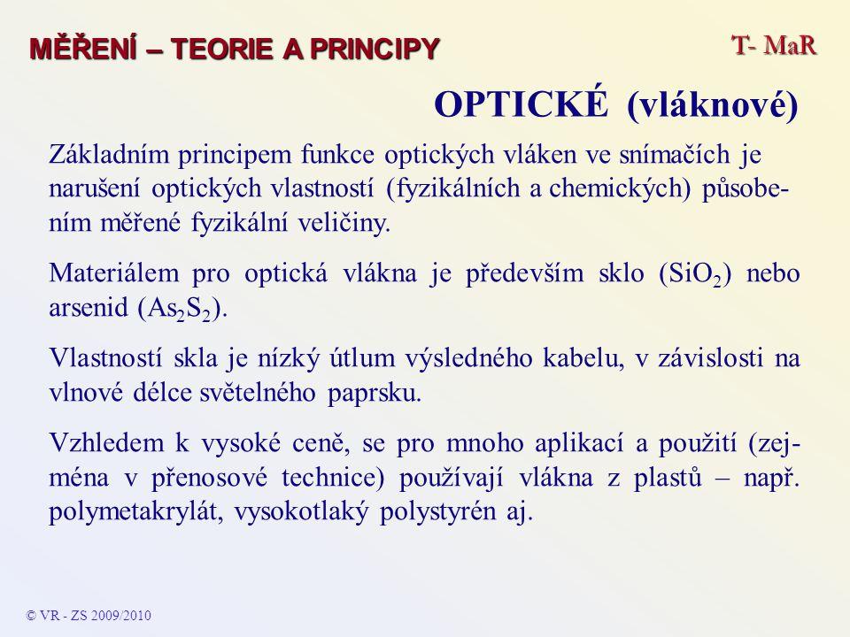 T- MaR MĚŘENÍ – TEORIE A PRINCIPY OPTICKÉ (vláknové) © VR - ZS 2009/2010 Základním principem funkce optických vláken ve snímačích je narušení optickýc