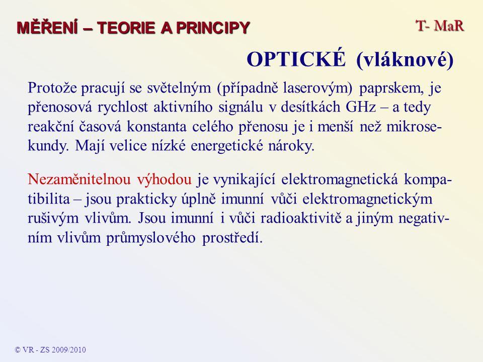 T- MaR MĚŘENÍ – TEORIE A PRINCIPY OPTICKÉ (vláknové) © VR - ZS 2009/2010 Protože pracují se světelným (případně laserovým) paprskem, je přenosová rych