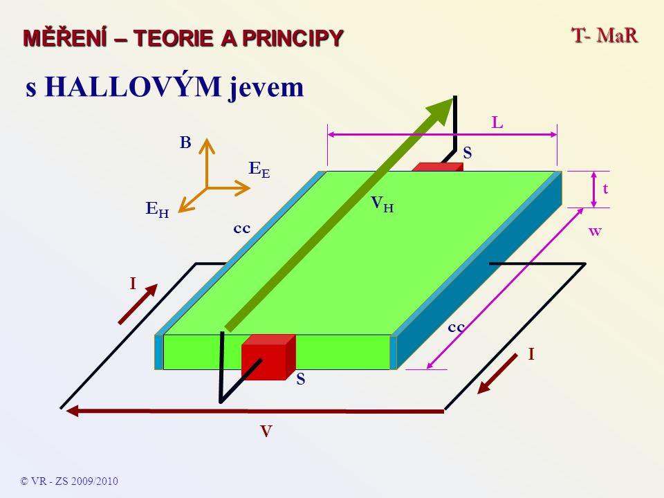 T- MaR MĚŘENÍ – TEORIE A PRINCIPY © VR - ZS 2009/2010 s HALLOVÝM jevem V VHVH EHEH E B I cc S S w I t L