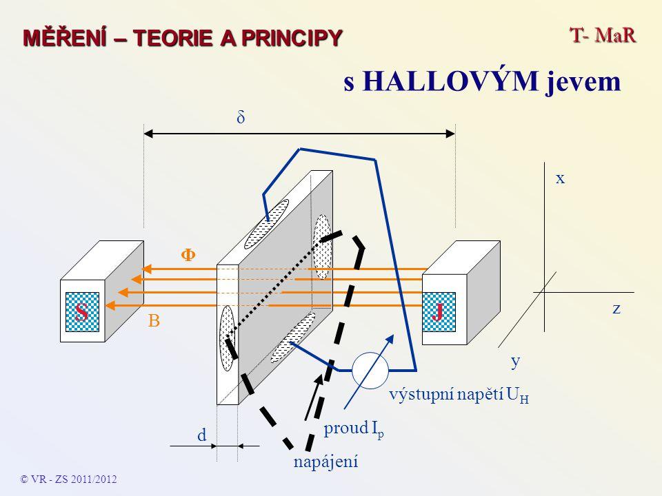 T- MaR MĚŘENÍ – TEORIE A PRINCIPY s HALLOVÝM jevem S B napájení výstupní napětí U H d J δ y z x proud I p © VR - ZS 2011/2012 Φ
