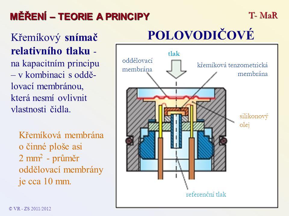 T- MaR MĚŘENÍ – TEORIE A PRINCIPY POLOVODIČOVÉ © VR - ZS 2011/2012 Křemíkový snímač relativního tlaku - na kapacitním principu – v kombinaci s oddě- l
