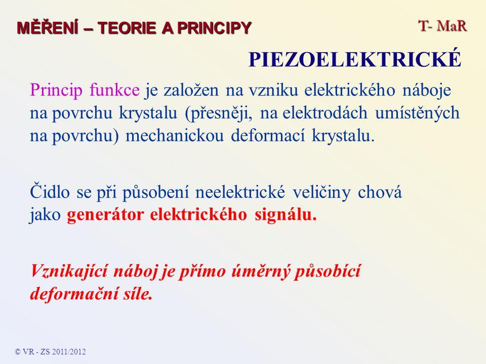 T- MaR MĚŘENÍ – TEORIE A PRINCIPY PIEZOELEKTRICKÉ Princip funkce je založen na vzniku elektrického náboje na povrchu krystalu (přesněji, na elektrodác
