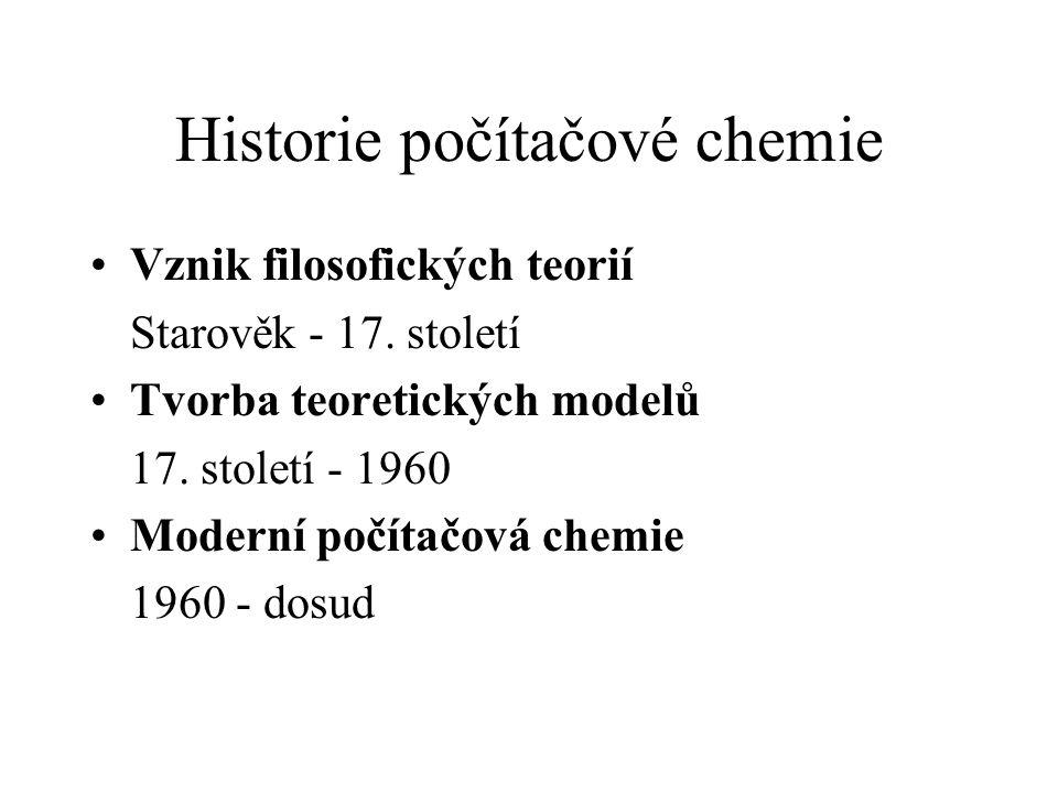 Historie počítačové chemie Vznik filosofických teorií Starověk - 17. století Tvorba teoretických modelů 17. století - 1960 Moderní počítačová chemie 1