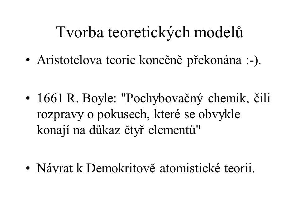 Tvorba teoretických modelů Aristotelova teorie konečně překonána :-). 1661 R. Boyle: