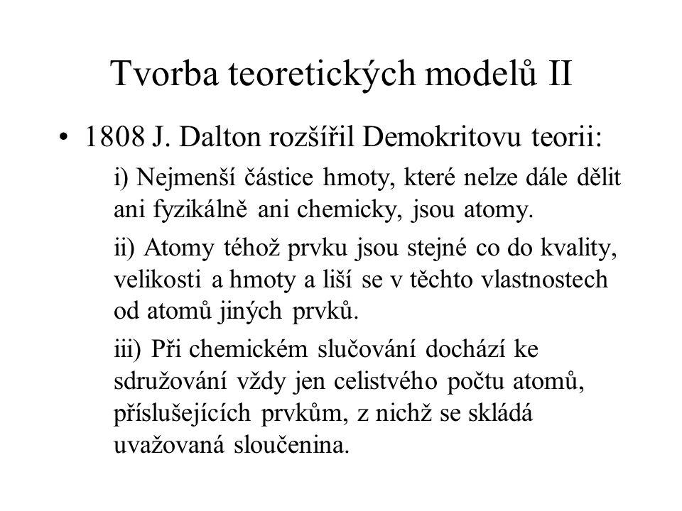 Tvorba teoretických modelů II 1808 J. Dalton rozšířil Demokritovu teorii: i) Nejmenší částice hmoty, které nelze dále dělit ani fyzikálně ani chemicky