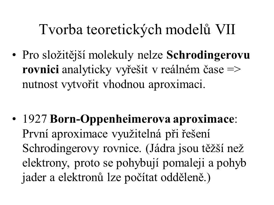 Tvorba teoretických modelů VII Pro složitější molekuly nelze Schrodingerovu rovnici analyticky vyřešit v reálném čase => nutnost vytvořit vhodnou apro
