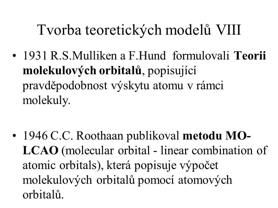 Tvorba teoretických modelů VIII 1931 R.S.Mulliken a F.Hund formulovali Teorii molekulových orbitalů, popisující pravděpodobnost výskytu atomu v rámci