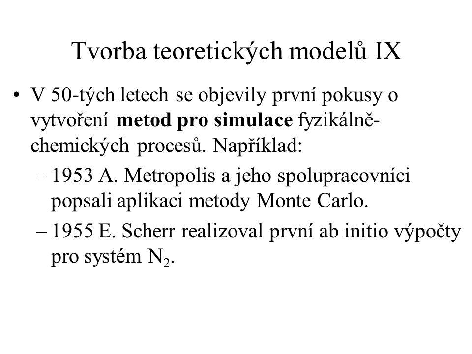 Tvorba teoretických modelů IX V 50-tých letech se objevily první pokusy o vytvoření metod pro simulace fyzikálně- chemických procesů. Například: –1953