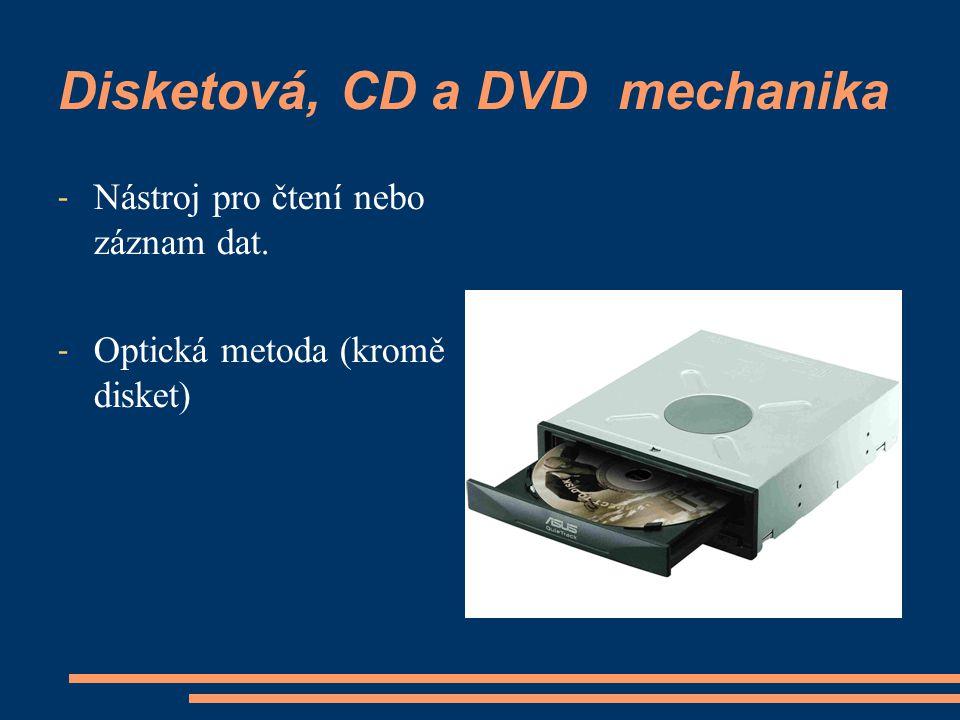 Disketová, CD a DVD mechanika - Nástroj pro čtení nebo záznam dat. - Optická metoda (kromě disket)