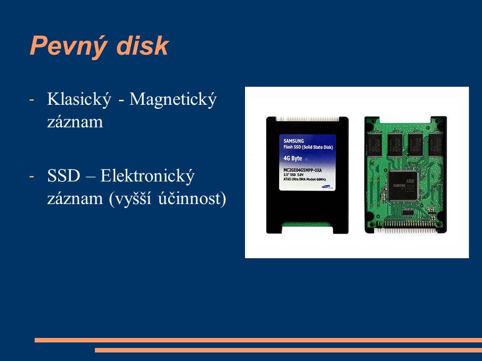 Pevný disk - Klasický - Magnetický záznam - SSD – Elektronický záznam (vyšší účinnost)