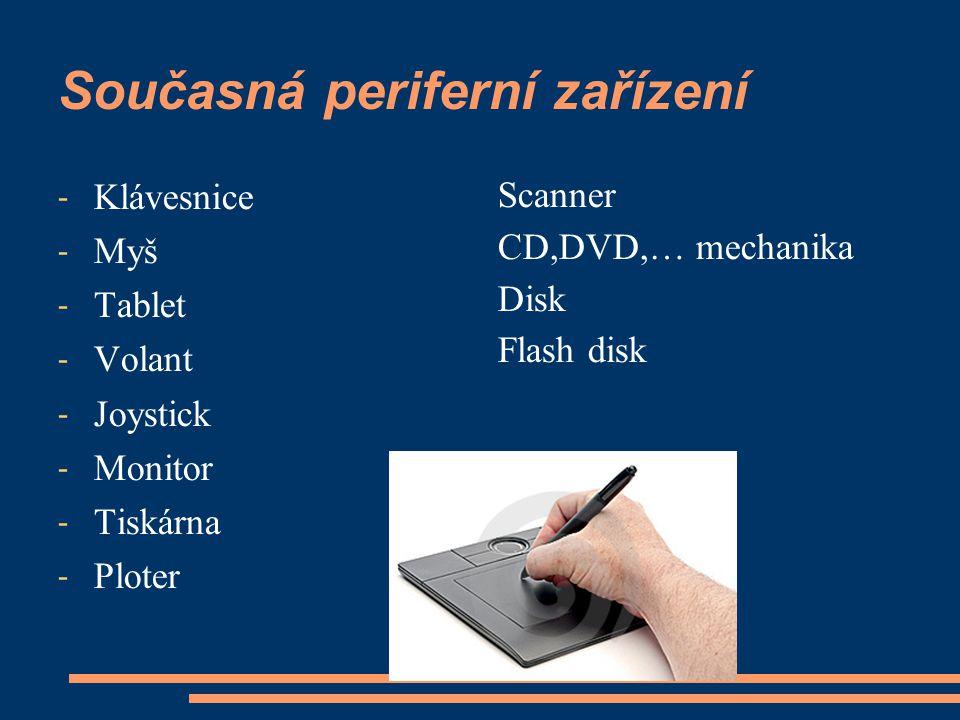 Současná periferní zařízení - Klávesnice - Myš - Tablet - Volant - Joystick - Monitor - Tiskárna - Ploter Scanner CD,DVD,… mechanika Disk Flash disk