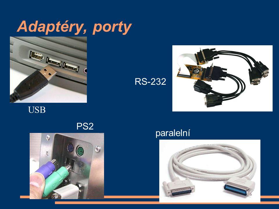 Adaptéry, porty PS2 USB paralelní RS-232