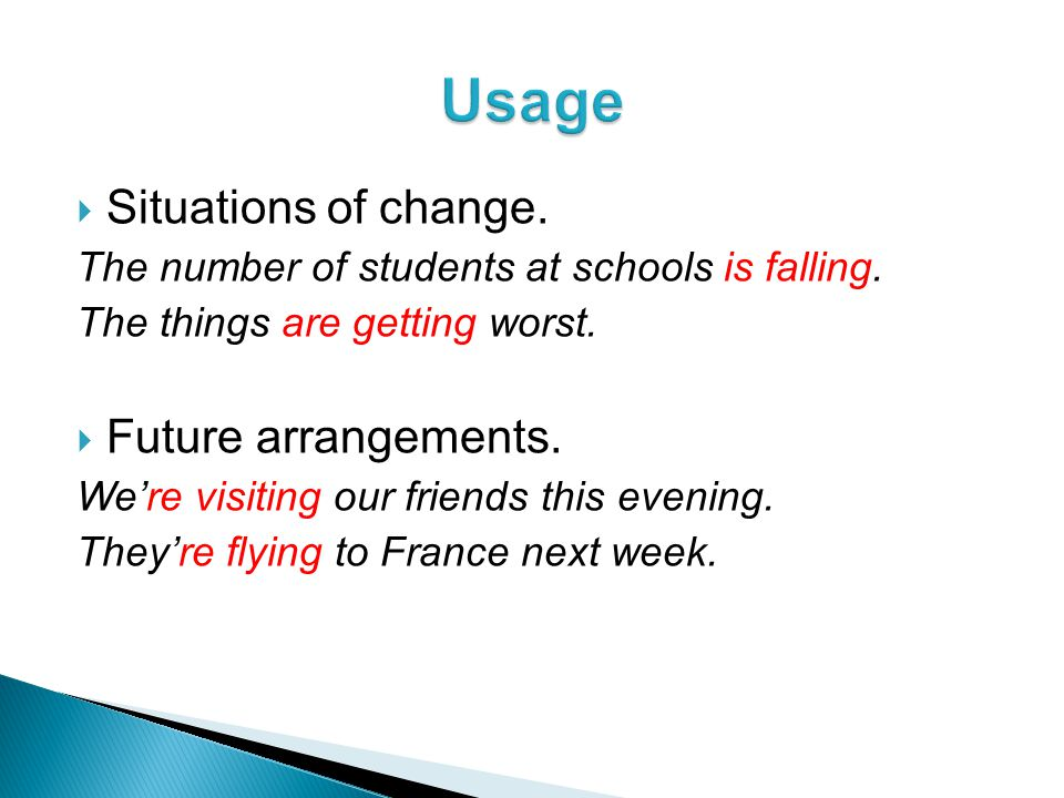  Situations of change. The number of students at schools is falling.
