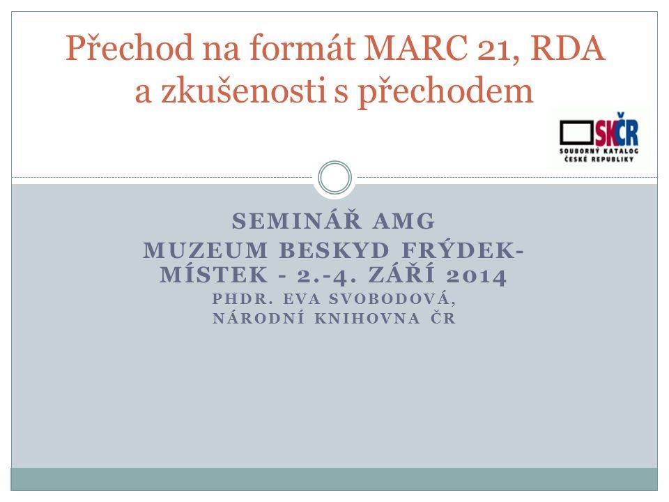 Katpol -> RDARDA Informace o RDA : http://www.nkp.cz/o-knihovne/odborne- cinnosti/zpracovani-fondu/katalogizacni-politika/rda http://www.nkp.cz/o-knihovne/odborne- cinnosti/zpracovani-fondu/katalogizacni-politika/rda pravidelně se aktualizují - zápisy z jednání PS pro jmenné zpracování - schválený minimální a doporučený záznam pro SK ČR - pracuje se na metodice 2015 ( do 1.