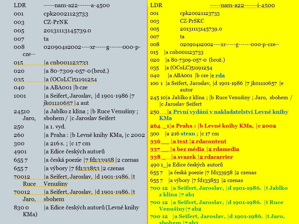 LDR -----nam-a22------a-4500 001 cpk20021123733 003 CZ-PrNK 005 20131113145739.0 007 ta 008 020904s2002----xr-----g------000-p- cze-- 015 |a cnb001123733 020 |a 80-7309-057-0 (brož.) 035 |a (OCoLC)51191254 040 |a ABA001 |b cze 1001 |a Seifert, Jaroslav, |d 1901-1986 |7 jk01110657 |4 aut 24510 |a Jablko z klína ; |b Ruce Venušiny ; Jaro, sbohem / |c Jaroslav Seifert 250 |a 1.